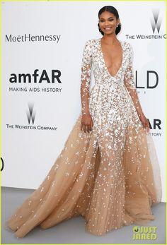 Chanel Iman no Baile de Gala da amfAR's em Cannes - 2015