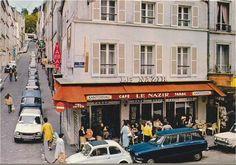 La rue de Tholozé vue depuis le coin avec la rue des Abbesses, vers 1965  (Paris 18ème)