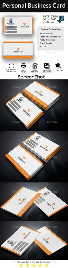 Personal #Business #Card - Business Cards Print Templates Download here:    https://graphicriver.net/item/personal-business-card/20346397?ref=alena994