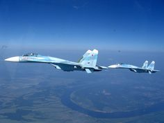 Pair of fighters Su-27 Flanker