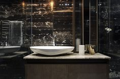 Contemporary bathroom furniture in small apartment by SAOTA, De Waterkant, Cape Town