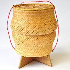 Behälter Klebereis Bast Thailand rund beige 14x18cm