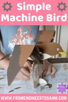 Simple Machine Bird: Levers, Gears, and Birds! - From Engineer to Stay at Home Mom Stem Projects, Science Projects, School Projects, Projects For Kids, Engineering Projects, School Ideas, Simple Machine Projects, Machine Learning Projects, Math Activities For Kids