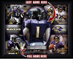 Baltimore Ravens NFL Football - Personalized Action Collage Print / Picture. Have you or someone you know ever dreamed about playing next to your favorite Baltimore Ravens players. You or someone you know can be right there in the locker room with Baltimore Ravens players! Optional framing with mat is available. Perfect for gifts, rec room, man cave, office, child's room, etc. ( www.oakhousesportsprints.com )