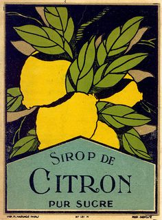 citron, lemon, French 1900 label