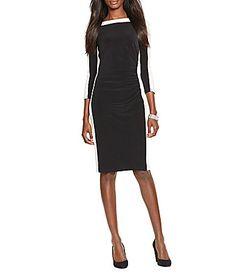 Lauren Ralph Lauren Two Toned Bateau Neck 34 Sleeve Dress #Dillards