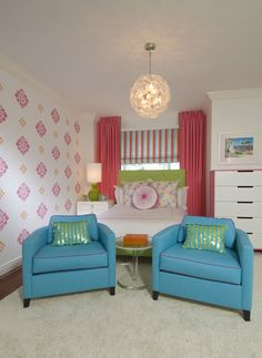 girl's room, love the colors
