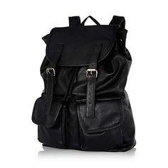 Black leather-look backpack $64.00