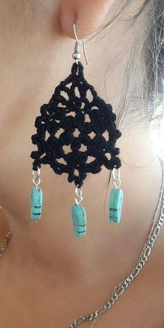 Black Earrings, Stone Earrings, Drop Earrings, Earrings Handmade, Handmade Jewelry, Turquoise Stone, Hippy, Crochet Earrings, Etsy