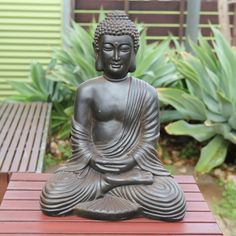 STATUE Buddha Antique Brown Sitting Hands in Lap 65cm | Karma Living