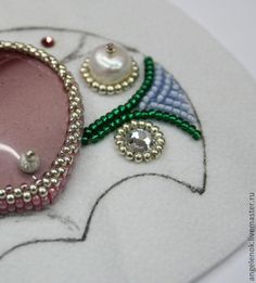 "Master class on embroidery pendant-crescent ""Fabulous Summer"" - Fair Masters - handmade, handmade Bead Embroidery Tutorial, Bead Embroidery Jewelry, Beaded Embroidery, Beaded Jewelry, Beading Tutorials, Beading Patterns, Shibori, Handmade Beads, Handmade Jewelry"