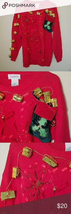 Pretty ugly Christmas sweater medium Vince sweater is in really good condition. Embellished it myself :-). Size medium. My size small daughter wore it over leggings so it came down longer for her:-) Tops