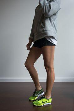 Girl wearing #Nike Flyknit Racer Volt