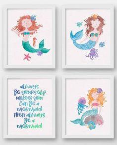 Mermaid Bathroom Art Print Mermaid Bedroom by LuckyDuckDigitals More