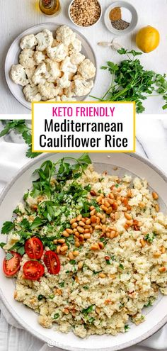 Seasoned with garlic, herbs and spices, this Mediterranean cauliflower rice is a great low carb alternative that is bursting with fresh flavors. Side Dishes | Cauliflower Recipes | Keto Friendly Recipes | Low Carb Recipes | Mediterranean Inspired Other Recipes, Side Dish Recipes, Side Dishes, Cauliflower Recipes, Cauliflower Rice, Low Calorie Recipes, Keto Recipes, Healthy Living Recipes, Main Meals