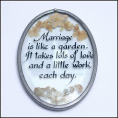 Beveled Glass Sun Catcher Dried Flowers and Marriage Quote by AuntRitz, $18.00