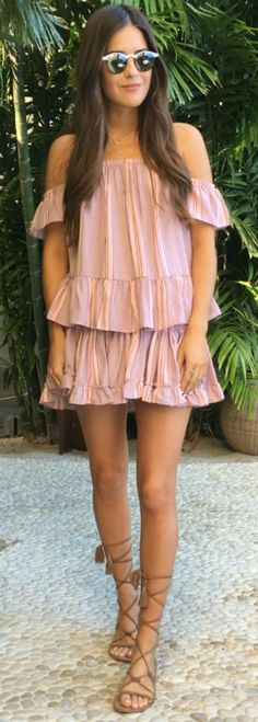 Strappy + gladiator sandals + must have + simple + rustic + style like this one, worn by + Paola Alberdi + sandals + blush pink + ruffle dress + summer style Blouse/Skirt: Misa Los Angeles, Sandals: ASOS