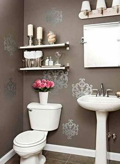 Small Bathroom Design Ideas In The Philippines to Very Small Bathroom Interior Design Ideas & Bathroom Sink Overflow while Bathroom Decor Nautical Downstairs Bathroom, Bathroom Wall Decor, Bath Decor, Bathroom Ideas, Bathroom Shelves, Bathroom Interior, Bathroom Stencil, Bathroom Organization, Bathroom Storage