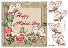 Mothersday Roses &amp Butterflies by Marijke Kok Gorgeous card with roses and butterflies for mothersday.insert available