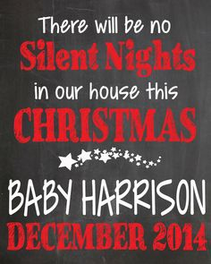 Silent Nights Pregnancy Announcement Chalkboard on Etsy, $8.00