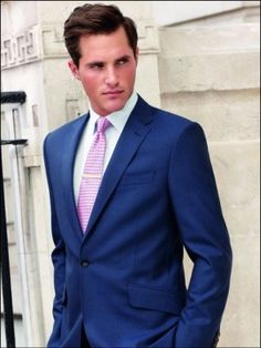Blue Suit for Men with Pink Tie