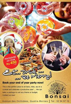 Book your end of year party with BONSAI RESTAURANT