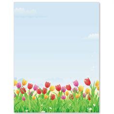 Tulip Field PaperFrames Custom Border Papers | PaperDirect