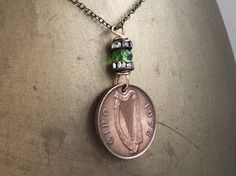 Irish coin necklace 1976 vintage coin jewellery 41st