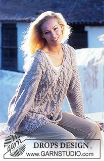 DROPS 55-8 - DROPS Sweater in Paris with Cables.  - Free pattern by DROPS Design