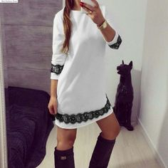 Find More Dresses Information about 2016 New Summer Style Women Dress Casual O Neck 3/4 Sleeve Short A Line Dress Party Evening Elegant Summer Dress Plus Size white,High Quality dresses evening dresses,China dress up a black dress Suppliers, Cheap dress rivets from Hot Fashion Zone on Aliexpress.com