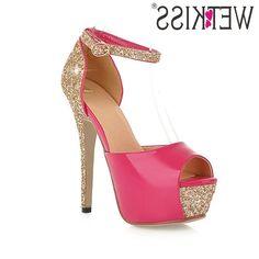 38.81$  Buy here - https://alitems.com/g/1e8d114494b01f4c715516525dc3e8/?i=5&ulp=https%3A%2F%2Fwww.aliexpress.com%2Fitem%2FWETKISS-Fashion-2017-Big-Size-32-43-Super-High-Heels-Sandals-Women-Bling-Sexy-Peep-toe%2F32784727384.html - WETKISS Fashion 2017 Big Size 32-43 Super High Heels Sandals Women Bling Sexy Peep toe Summer Shoes Platform Ankle Strap Sandals