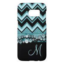Your Monogram Cute Stylish Retro Zigzag Pattern Samsung Galaxy S7 Case
