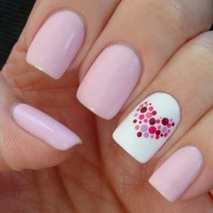 Wedding nails in nude; the heart will have navy and lavender dots.