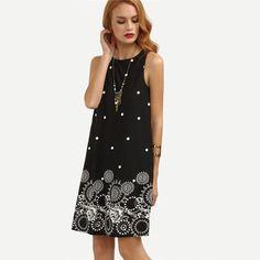 Casual Dresses For Women Summer Ladies Black Polka Dot Print Sleeveless Round Neck Short Shift Dress