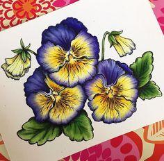 Pansies digital stamp set by Power Poppy, card design by Elizabeth Zaffarano.