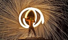 a performer during a fire light show in Koh Samui, Thailand.