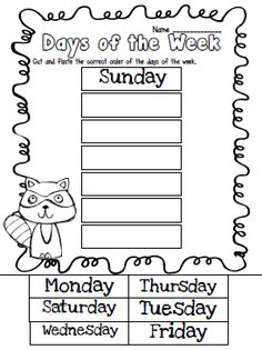 Days of the week cut & paste...math journal idea for the first week of school (because even in MAY I have kiddos who can't keep months straight from days of the week!)