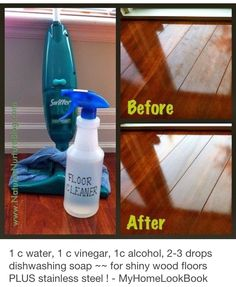 Cleaning solution to try: Homemade Floor Cleaner Homemade Cleaners Ingredients 1 cup water 1 cup vinegar 1 cup isopropyl alcohol drops natural dish soap drops essential oil (optional) Fine-mist spray bottle – Homemade Cleaning Products, Cleaning Recipes, Natural Cleaning Products, Cleaning Hacks, Floor Cleaning, Green Cleaning, Cleaning Supplies, Kitchen Cleaning, Cleaning Wood Floors