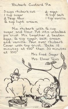Rhubarb Custard Pie - Recipe from 1950's Wisconsin Church Cookbook