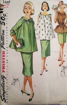 Vintage 1950 s Sewing Pattern Maternity Outfit,  Bows on Shoulder Bust 38  (D)