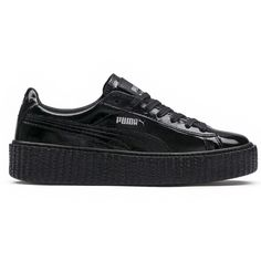 Puma Fenty X Puma by Rihanna Cracked Leather Creeper (93.905 CLP) ❤ liked on Polyvore featuring shoes, black, kohl shoes, black creeper shoes, puma footwear, puma shoes and black shoes