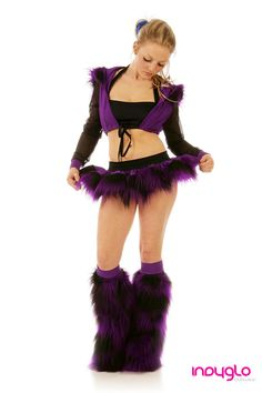 Purple and Black Fluffy Rave Outfit : £69.99 - Only from Indyglo Clubwear.