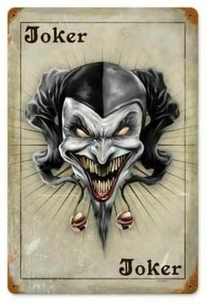 The Joker Card Metal Sign 12 x 18 Inches Playing Card Tattoos, Joker Playing Card, Playing Cards Art, Custom Playing Cards, Joker Clown, Joker Art, Joker Card Tattoo, Evil Clown Tattoos, Joker Tattoos