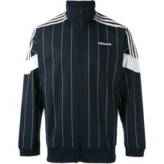 Adidas Originals striped track jacket ($76) ❤ liked on Polyvore featuring men's fashion, men's clothing, men's activewear, men's activewear jackets and blue