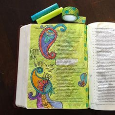 """""""All the ways of a man are pure in his own eyes, but the Lord weighs the spirit"""" proverbs always has such great nuggets to ponder. A little bit of #paisley and a bit of #Zentangle #doodling. #bibleartjournalingcommunity #biblejournaling #illustratedfaith #ipaintinmybible #biblejournalingcommunity #bibleart #iheartpaisley"""