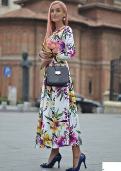 Fabric:Fabric+is+very+stretchy Season:Spring,+Fall Pattern+Type:Floral Sleeve+Length:Long+Sleeve Color:Multicolor Dresses+Length:Long Style:Elegant,+Casual Material:Polyester Neckline:Round+Neck Silhouette:A+Line Bust(Cm):XS:86cm,+S:90cm,+M:94cm,+L:98cm,+XL:102cm,+XXL:106cm ...