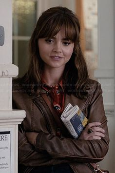 Clara's brown leather jacket on Doctor Who.  Outfit Details: http://wornontv.net/36702/ #DoctorWho