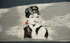 Wet Felted Shawl with Audrey Hepburn by WoolWorldByMarta on Etsy