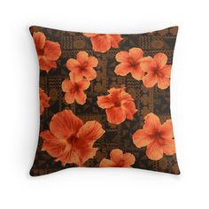 Kalalau Tapa Hawaiian Hibiscus Vintage Aloha Print - Orange & Brown Throw Pillows