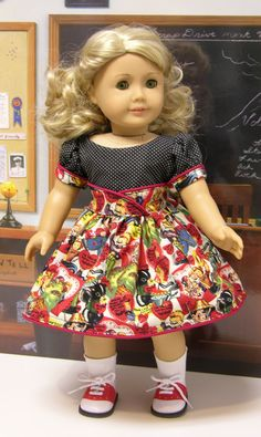 Valentine Cutie- vintage style dress for American Girl doll. $47.00, via Etsy.
